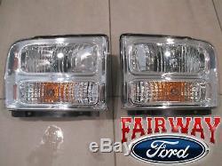 06 & 07 Super Duty F250 F350 F450 F550 OEM Ford LH & RH Head Lamp Light PAIR NEW