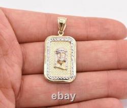 1 1/2 Jesus Head Medallion Diamond Cut Pendant Real 10K Yellow White Gold
