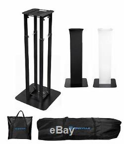 (1) Rockville RTP32B Totem Moving Head Light Stand+Black+White Scrims+Carry Bags