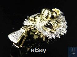10K Yellow Gold Genuine Diamond King Lion Head Charm Pendant 1.50 (0.50Ct)