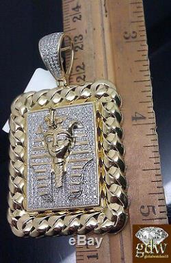 10K Yellow Gold Jesus Head Pharoah Charm Pendent 1.10CT Diamond Unique Design