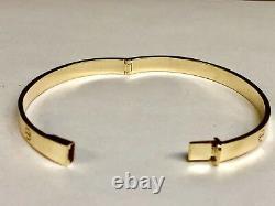 10k Solid Yellow Gold Nail Head LOVE Design Bangle/Bracelet 6mm 24 grams 7 Inch