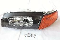 1997 2002 Mirage Evolution Evo4 IV 4 Black Head Lights Amber Corner Headlights
