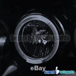 1999-2004 Ford F250 Smoked Dual Halo Rim LED Projector Head Lights Glossy Black