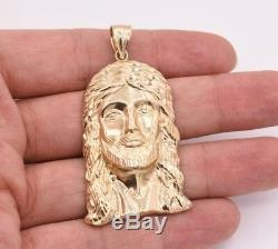 2 1/2 Men's Diamond Cut Jesus Head Charm Pendant Real Solid 10K Yellow Gold