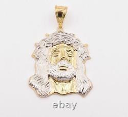 2 1/4 Huge Mens Diamond Cut Jesus Head Charm Pendant Real 10K Yellow White Gold