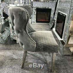 2 Grey Velvet Dining Chairs with Lion Head Door Knocker and Tufted Back