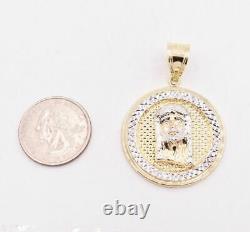2 Jesus Head Diamond Cut Round Medallion Pendant Real 10K Yellow White Gold
