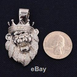 2 Men's Lion's Head Iced Out CZ Greek Crown Pendant White Sterling Silver 925