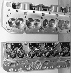 2 New Chevy 327 350 Sbc 2.02 Straight Plug 200cc. 550 Spring Alum Cylinder Heads