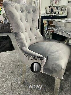 2 x Grey Velvet Dining Chairs with Chrome Lion Head Door Knocker and Legs