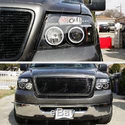 2004-2008 Ford F150 F-150 LOBO Black HALO LED Projector Head Light Lamp LH+RH
