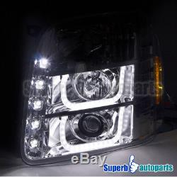 2007-2014 GMC Yukon Denali XL LED Halo Projector Headlights Clear Head Lamps
