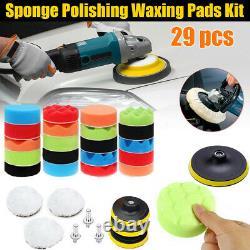 29pcs Polishing Sponge Heads Car Buffing Valeting Soft Mop Pads Kits UK