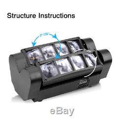 2PCS 8x10W RGBW LED Spider Beam Moving Head Stage Lighting Disco DJ Party Light