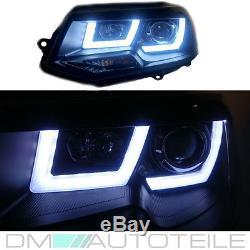 2x VW T5 FACELIFT GP Scheinwerfer Set U LED TAGFAHRLICHT Klarglas Schwarz 09-15