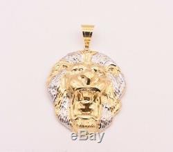 3 1/2 Men's Diamond Cut Roaring Lion Head Charm Pendant Real 10K Gold Two-Tone
