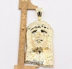 3 3/4 Huge Men's Diamond Cut Jesus Head Charm Pendant Real 10K Yellow Gold