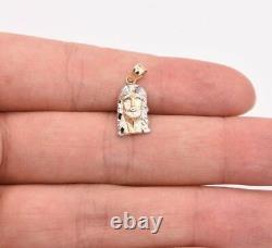 3/4 Diamond Cut Jesus Head Charm Pendant Real Solid 10K Yellow White Gold
