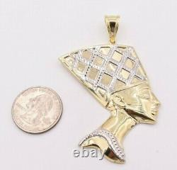 3 Egyptian Queen Nefertiti Head Diamond Cut Pendant Real 10K Yellow White Gold