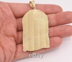 3 Huge Men's Diamond Cut Jesus Head Charm Pendant Real 10K Yellow White Gold