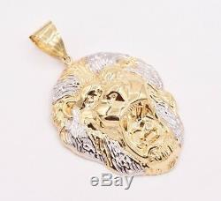 3 Men's Diamond Cut Roaring Lion Head Charm Pendant Real 10K Gold Two-Tone