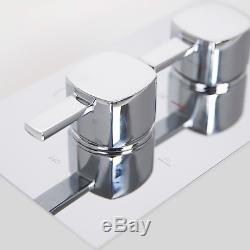 300mm Ceiling Square Mixer Shower Ultra Thin Head Bathroom Chrome Valve Set