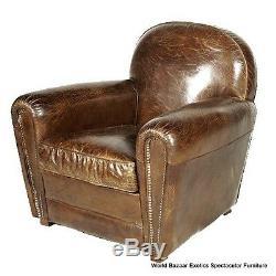 34 W Club armchair Vintage cigar brown leather Nail head trim eebe7452