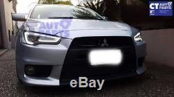 3D Neon LED DRL Bar Projector Head Lights for 07-17 Mitsubishi Lancer CJ EVO X