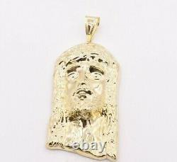 4 1/4 Huge Men's Diamond Cut Jesus Head Charm Pendant Real 10K Yellow Gold