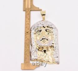 4 Huge Men's Diamond Cut Jesus Head Charm Pendant Real 10K Yellow White Gold