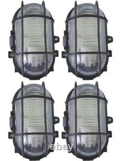 4 X Black Outdoor Garden Security Bulkhead Bulk Head Light Lamp Lantern 60w