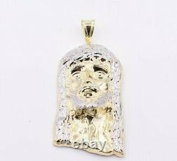 5 Huge Men's Diamond Cut Jesus Head Charm Pendant Real 10K Yellow White Gold