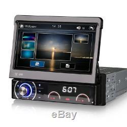 7 Single DIN DAB Radio Head Unit GPS Sat Nav Bluetooth Flip-Out CD DVD Stereo