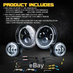 90W CREE LED 7 Headlights Fog Light Combo With Bluetooth RGB Halo Jeep Wrangler