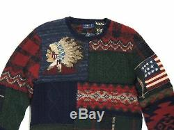 $995 Men Polo Ralph Lauren Indian Head Chief Bear Flag Plaid Patchwork Sweater M