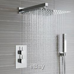 Bath Conceal Shower Mixer Thermostatic Valve Dual Square Over Head Bathroom Kit