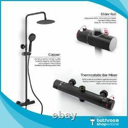 Bathroom Black Thermostatic Mixer Shower Set Round Twin Head Exposed Valve