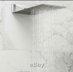 Bathroom Thermostatic Mixer Shower Set Square Chrome Twin Head Concealed Valve