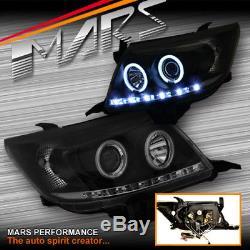 Black DRL LED CCFL Angel-Eyes Projector Head Lights for Toyota Hilux VIGO 11-15