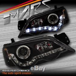 Black Drl Led Head Lights Ford Falcon Fpv Ba Bf Sedan Ute