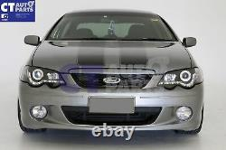 Black DRL LED Head Lights for 02-08 Ford Falcon BA BF XR6 FPV XR8 Sedan Ute