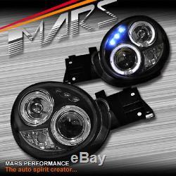 Black LED Angel-Eyes Projector Head Lights for Subaru IMPREZA WRX STI 01-03 GD