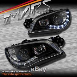 Black LED DRL Day-Time Projector Head Lights for Subaru Impreza 05-07 RX WRX STi