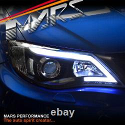 Black LED DRL Day-Time Projector Head Lights for Subaru Impreza 07-13 RS WRX STi