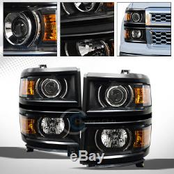 Black Projector Head Lights Signal Lamps Amber Dy 2014-2015 Chevy Silverado 1500