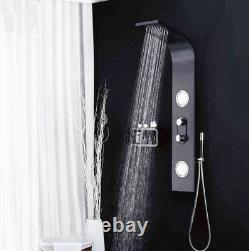 Black Shower Column Tower Panel With Twin Heads Body Jets SP2