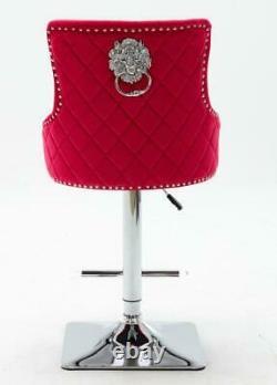 Blue Grey Pink Red Green Black Velvet Button Bar Stool Lion Head Knocker