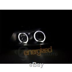 Bmw E90/e91 05-08 3 Series Black Angel Eye Halo Projector Head Lights Lamps Pair
