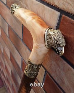 Cane Walking Stick Eagle Bronze head Wood Wooden handmade Maple Burl